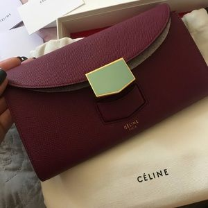 Celine plum multi function wallet